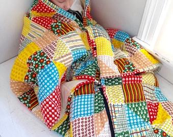 Vintage snuggy quilted blanket sleeping bag calico