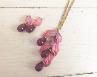 Vintage Park Lane Jewelry Set- Earrings, Brooch, Necklace- Signed