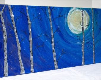 "Moonlit Burch, Original Acrylic Painting Wall Art Gallery Wrap  24"" by 12"""