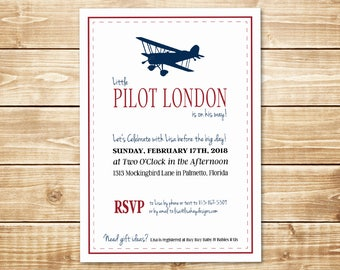 PRINTED Little Pilot 5 x 7 Vintage Biplane Baby Shower Invitation with White Envelope in Red, Navy, and White with Plane Silhouette