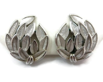 Trifari Earrings - Textured Silver Tone Leaves, Clips, Costume Jewelry