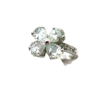 Glass Flower Ring - Silver Costume Jewelry, Clear Stones Statement ring