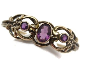 Victorian Amethyst Paste Bracelet - Gold Fill, Hinged Bangle, Estate Costume Jewelry