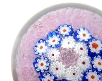 Murano Paperweight - Millefiori Art Glass, Pink White Blue