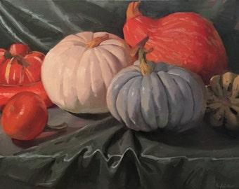 "Art painting pumpkin fall still life ""Squash Game"" original oil by Sarah Sedwick 14x18"""