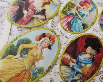 England Paper Lithographed Die Cut Scraps Oval Framed Marie Antoinette Ladies Out Of Print  MLP 904