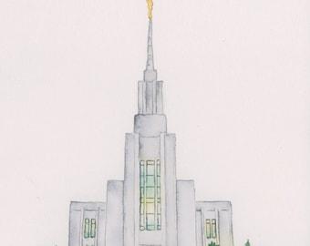 Twin Falls Idaho Temple Watercolor Print