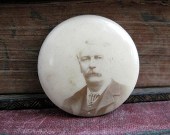 celluloid photo button Photo jewelry antique photo faded man