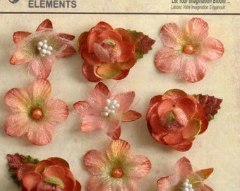 Mixed Textured Mini Blossoms in Apricot, 9 pieces
