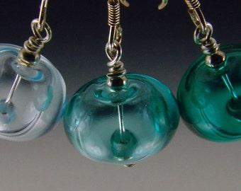 Aqua Hollow Lampwork Bead Earrings