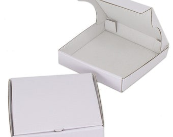 "8 White 5""  Mini Pizza Boxes - Sturdy cardboard! (Food Box, Party Favor, Cake Box, Cookie Box)"
