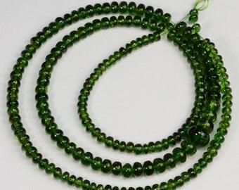 3mm-7.2mm Gem Chrome Green Tourmaline Smooth Rondelle Beads 18 inch strand