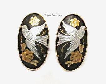 Vintage Damascene Earrings, Clip Ons