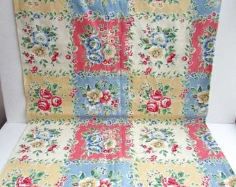 Vintage Fabric, 1 2/3 Yard of Vintage 1970's Decor Fabric, Floral in Color Squares, Lightweight Decor Fabric, Coral, Soft Blue, Pale Yellow