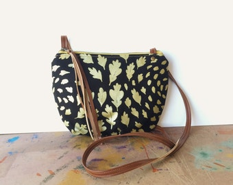 date purse  • small crossbody bag • metallic gold leaf print - black canvas - gifts under 50 - screenprinted - fall fashion • native