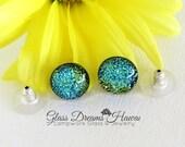 Sparkling Aquamarine Studs, Glass Stud Earrings, Fused Glass Earrings, Hawaii Handmade Jewelry, Dichroic Glass Jewelry, Fashion Earrings
