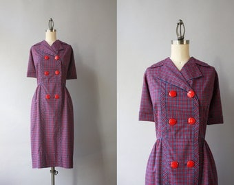 Vintage 50s Dress / 1950s Holly Hoelscher Dress / 1950s Double Breasted Cotton Plaid Day Dress Large 30 waist