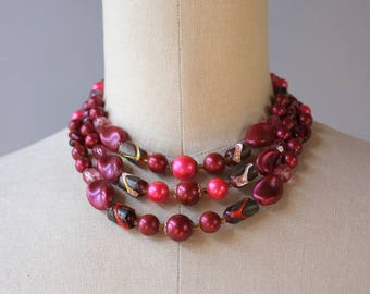 1960s Necklace / Vintage 60s Multi Strand Beaded Necklace / Deep Pink Art Glass Bead Necklace