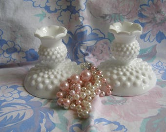 Vintage Pair of White Hobnail Milk Glass Candleholders Candle Holder