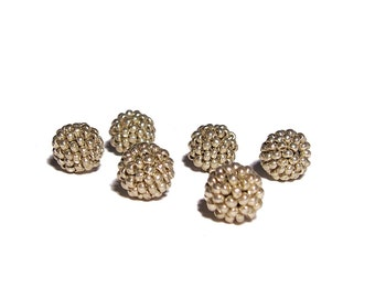 Silver beaded beads handmade 10mm beads 6pcs