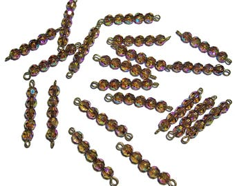 Beaded links Faceted Topaz AB beads 6mm 20pcs