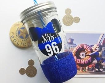 Minnie Thin Blue Line /// Glitter Mason Jar Tumbler // Glitter Tumbler // Glitter Glass