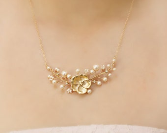 Gold Flower and Freshwater Pearl Bridal Necklace, Bridesmaid Gift