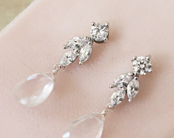 Delicate Rhinestone and Rose Quartz Wedding, Bridal, Bridesmaid Earrings
