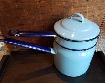 Vintage Graniteware Double Boiler Robin Egg Blue Enamelware