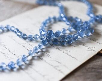 Antique Victorian Era Glass Bead Necklace, Antique Blue Glass Bead Necklace, Antique Necklace, Glass Bead Necklace, Vintage Necklace