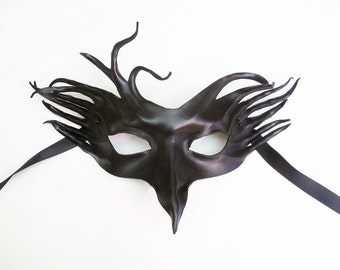 Crazy Crow, a Black Leather Mask