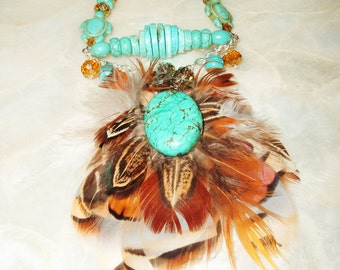 Native American, Chippewa, Handmade Turquoise, Feather, Necklace, Suede, Crystal, Exotic, Ethnic, One of a Kind, Tribal, Boho, Unique