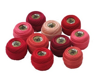Vog© Perle Cotton Size 8 Embroidery Threads - Set of 10 Balls (10gr Each) - Red-bordo-peach Shades (column No. 1A)