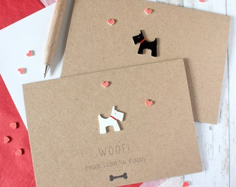 Scottie Dog Card Scottish Terrier Card Woof Means I Love You Card Anniversary Card Dog Card Puppy Card Dog Lover Card Engagement Card Woof