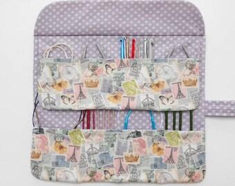Pastel Circular Needle Case, Holder for Circular Knitting Needles, Crochet Hook Roll, DPN Double Pointed Needle Organizer, Makeup Brush Bag