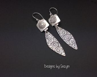 ON SALE Earrings, silver, tribal, artisan, handmade,  Dangle earrings, swirls, spirals