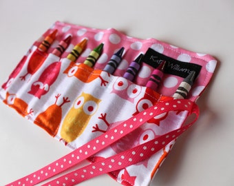 Owls in Pink Crayon Roll Organizer-Girl Crayon Roll-Girl Christmas Gift-Girl Stocking Stuffer-Girl Birthday Gift-Girl Party Favor-Travel Art