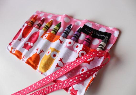 Owls in Pink Crayon Roll Organizer-Girl Crayon Roll-Girl Christmas Gift-Girl Stocking Stuffer-Girl Birthday Gift-Girl Party Favor-Travel Art