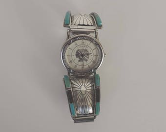 Vintage Navajo Watch Sterling Silver - Native American - Signed RB Sterling