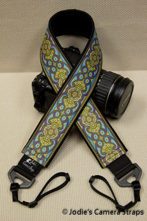 "Custom Padded Camera Strap 2"" Wide Paisley Green Purple Turquoise DSLR SLR P&S"