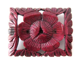 Vintage Faux Carved Cinnabar Brooch or Pin / Asian Chinese Style Jewelry / Red Floral Jewelry