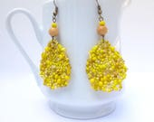 CUSTOM ORDER for Rose, Marigold earrings, bohemian, Coachella, statement earrings, free form peyote stitch, wearable art