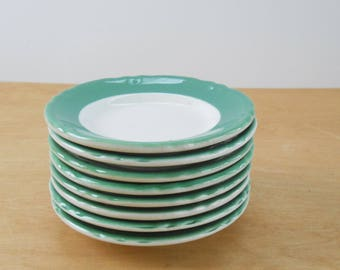 Vintage Restaurant Ware Plates • Shenango China Bread Plates • Green 1970s - 80s Small Plates