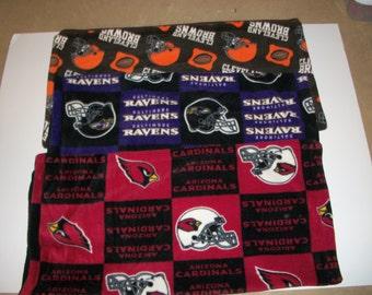 Baby's First Blanket Football Patterns (Choose Arizona Cardinals block, Baltimore Ravens Block or Cleveland Browns Pattern)