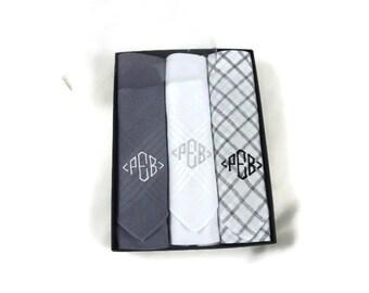 Monogrammed Handkerchief. Mens Handkerchief. Mens Monogrammed Handkerchiefs. Personalized Handkerchief. Assorted Gray Plaid