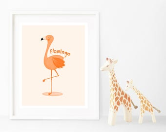 Cute Flamingo Printable Digital Art - INSTANT DOWNLOAD - ideal for a nursery, kids rooms or to give as a gift