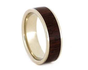 Wood Wedding Ring, 14k White Gold Wedding Band with Ipe Wood