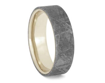 Gibeon Meteorite Wedding Band For Men or Women. Custom 14k White Gold Ring