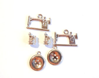 Set of 6 Sewing Themed Charms Silver-tone