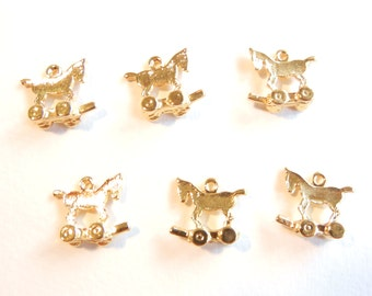 6 or 3 Pairs of Tiny Toy Horses or Trojan Horse Charms Gold-tone